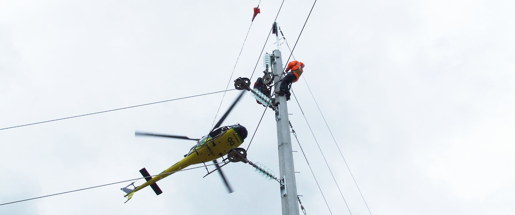 Helicopter Power Line Stringing